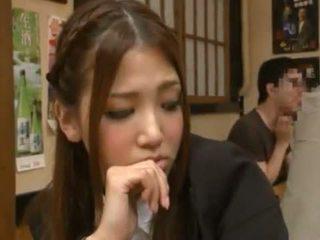 Nanako hoshizaki has her singing made love from backside in the restaurant