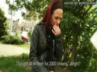 Slutty redhead gal anal devastated with stranger and gets payed