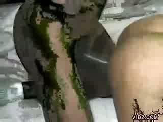 সুন্দরী আবলুস জ্যামাইকা enjoys আবলুস meat