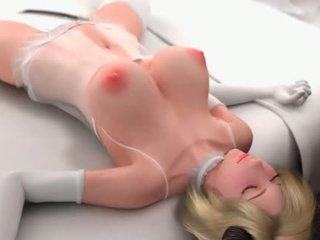 Animated blonde doing blowjob