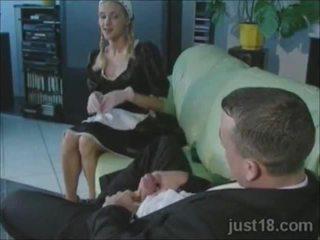 Excitat blonda servitoare inpulit greu