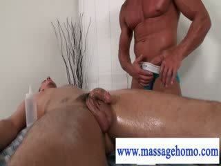 Masseur sticks dick in clients mouth