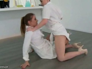 Two sexy girls fighting and making lov...