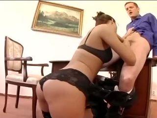 Pretty secretary fucking in thigh high stockings
