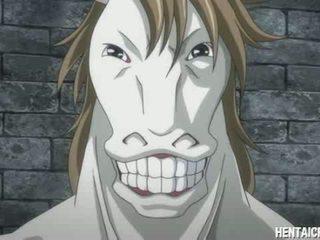 Anime fille baisée par cheval monstre