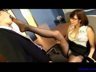 Office lady sucking guy cock fingering...