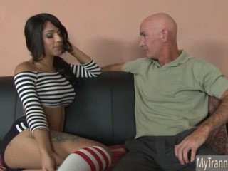 Pretty hot TS Jane Marie anal pounded on a sofa