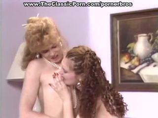 Vintáž lesbičky mať príťažlivé pička eating a toying