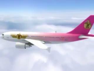 Seksikas stjuardess gets värske jobi aboard