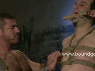Justin endures hard bondage fuck