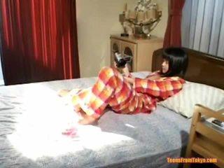 일본의, 자위, 솔로 소녀