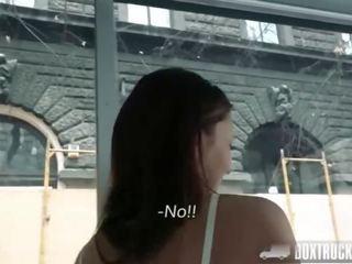 Box Truck Sex - Petite Student Sucks Big Cock in Public Behind the One-way Windows