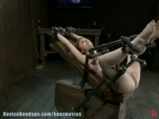 Girl next door, gets bound in hard metal and fucked by a machine