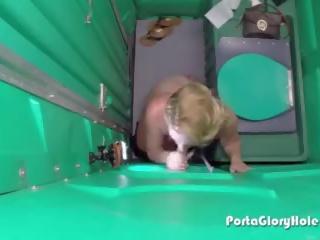 Hot Thick Blonde Sucks Cock in Porta Potty