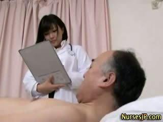 Jap hottie nurse gets dirty