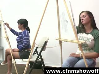 Artistic group of amateur CFNM babes who like cock