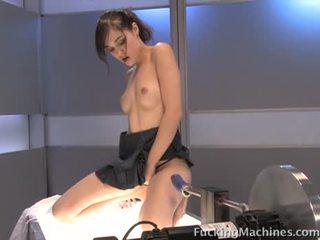 Young Sasha Grey on the doggy machine