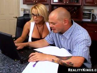 big tits, office