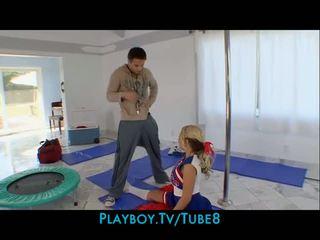 Flexible bigtit teen cheerleader fucks sucks a bigdick