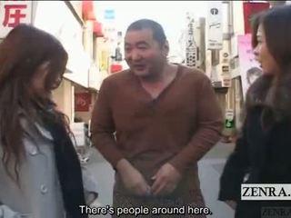 Subtitled javno japonsko ekstremno križno oblačenje femdom