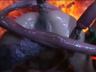 Lustful tentacles quái nóng á châu chó tại doggie giới tính pose