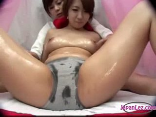 Asian girl in panty massaged with oil tits rubbed pussy fing