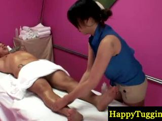 Real asian masseuse gets naughty
