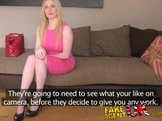 Busty blue eyed Scottish chick gets creampie in fake casting