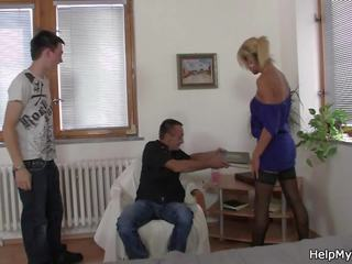 Old Man Calls Him to Fuck His Young Blonde Wife: HD Porn 63