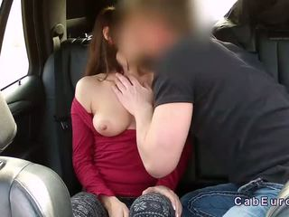 Brown haired amateur fucking in fake taxi