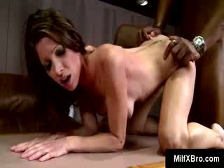 MILF craving for black dick Angel takes what she can of a big black cock inside her tight pussy