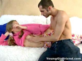 Winsome golden haired tinedyer gal trinity acquires pink puke shaged