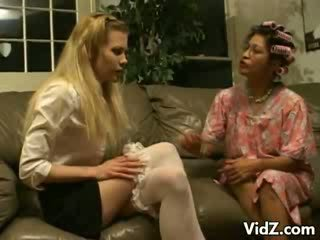 Granny Sophie licks chick Michele's cunt