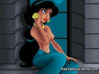 Aladdin 과 jasmine 포르노를 패러디