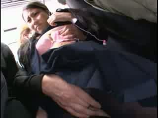 Innocent babe groped to orgasm on a bus