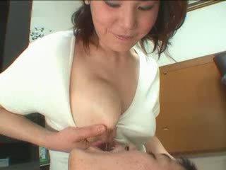 velká prsa, japonsko, zralý, maminka