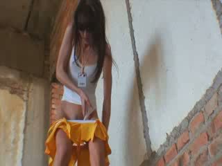 Thin brunete peeing and fucking on a site