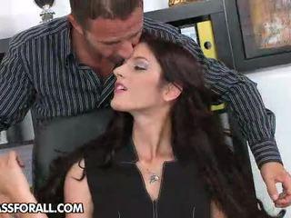 cheveux noirs, bureau pipe, collants