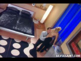 Horny Blonde Sylvia Saint Blowing A Lucky Man's Hardon Wild Until It Explodes