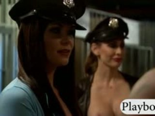 Two Busty Babes Foursome In A Jailcell