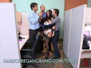 Hot Office Slut Gets Gangbanged