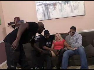 Busty Angel Allwood in an interracial gangbang