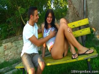 Alina Is Sitting Onto The Bench And You Is Able To See Her Pussy.