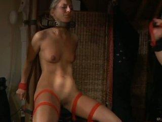 Arrapato schiavo ragazza moans di il piacere in sadomaso session