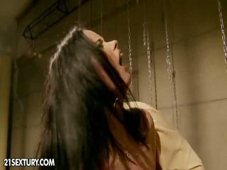 Spicy Black Haired Abused And Made Love In Dungeon