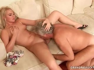 Old guy fucks hot young blonde