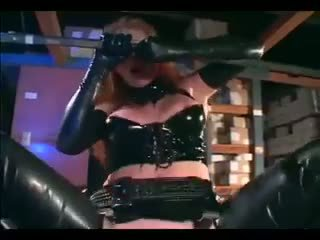 Audrey Hollander - Redhead fucking in gloves and a latex uniform