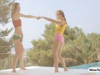 Two Teen Girls Virginie And Alyssa Dancing In Siesta
