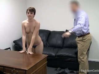 Brunette performs for casting interview
