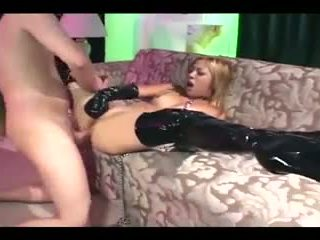 Blonde pixie with braces has sex in thigh high latex boots and gloves